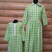 Одежда ручной работы. Ярмарка Мастеров - ручная работа Платье Зеленая клетка Хлопок 100%. Handmade.