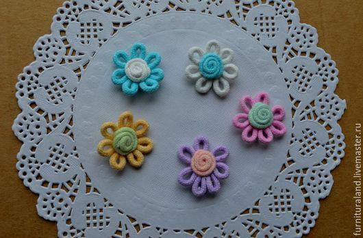 Аппликации, вставки, отделка ручной работы. Ярмарка Мастеров - ручная работа. Купить Декоративные цветочки, 5 цветов.. Handmade.