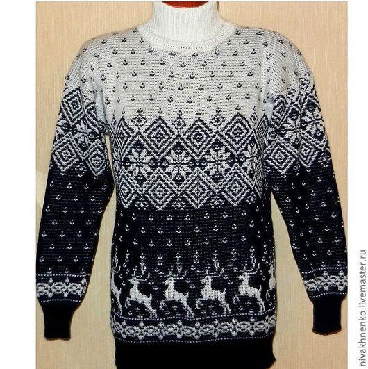 Кофты и свитера ручной работы. Ярмарка Мастеров - ручная работа. Купить Вязаный свитер с оленями.. Handmade. Тёмно-синий