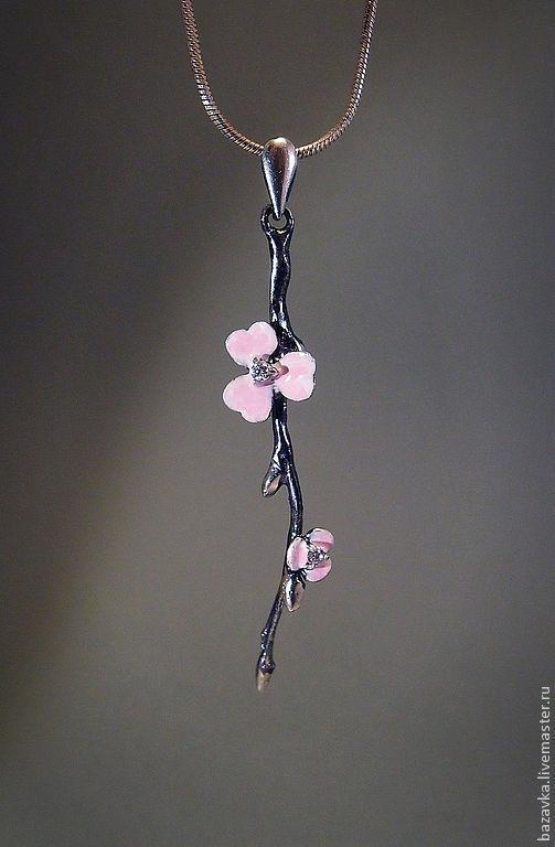 """Кулоны, подвески ручной работы. Ярмарка Мастеров - ручная работа. Купить Серебряная подвеска """"Сакура"""". Handmade. Розовый, весна, чернение"""