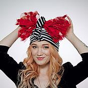 Аксессуары handmade. Livemaster - original item Striped convertible black-white turban hijab hat. Handmade.