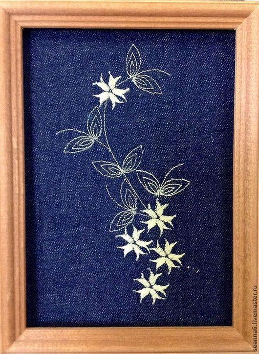 """Картины цветов ручной работы. Ярмарка Мастеров - ручная работа. Купить Вышитая картинка, картина, панно """"Джинсовый орнамент - веточка"""". Handmade."""