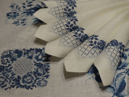Текстиль, ковры ручной работы. Ярмарка Мастеров - ручная работа. Купить Скатерть льняная с салфетками Гжель. Handmade. Белый