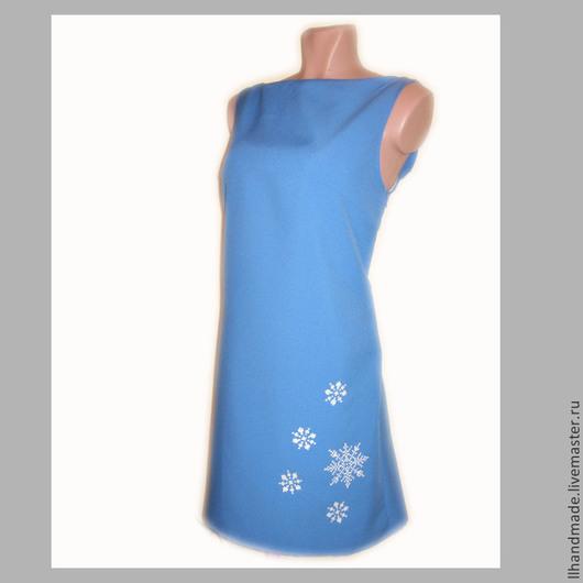 """Платья ручной работы. Ярмарка Мастеров - ручная работа. Купить Платье вышитое """"Январь"""" - ручная вышивка. Handmade. Голубой"""