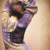 """Одежда ручной работы. Ярмарка Мастеров - ручная работа Платье """"Черничные сказки"""" спицами из овечьей шерсти. Handmade."""