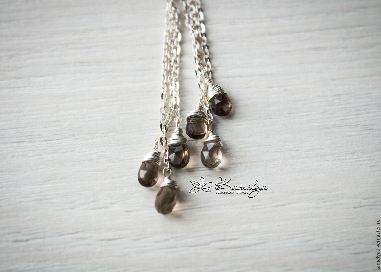 Long silver earrings Topaz 'singin' in the rain' 925 silver, Earrings, Yaroslavl,  Фото №1