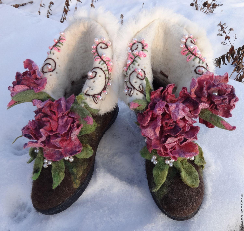 Handmade Shoes handmade. Livemaster - handmade. Buy Boots 'Kitty'.Fleece, boots for the street, flower felted, fleece