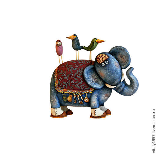 Коллекционные куклы ручной работы. Ярмарка Мастеров - ручная работа. Купить Слон и его друзья . Деревянная скульптура. Ручная роспись. Handmade.