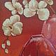 Картины цветов ручной работы. Картина вышитая крестом и бисером Орхидеи в вазе. Елена Дедюлина. Интернет-магазин Ярмарка Мастеров.