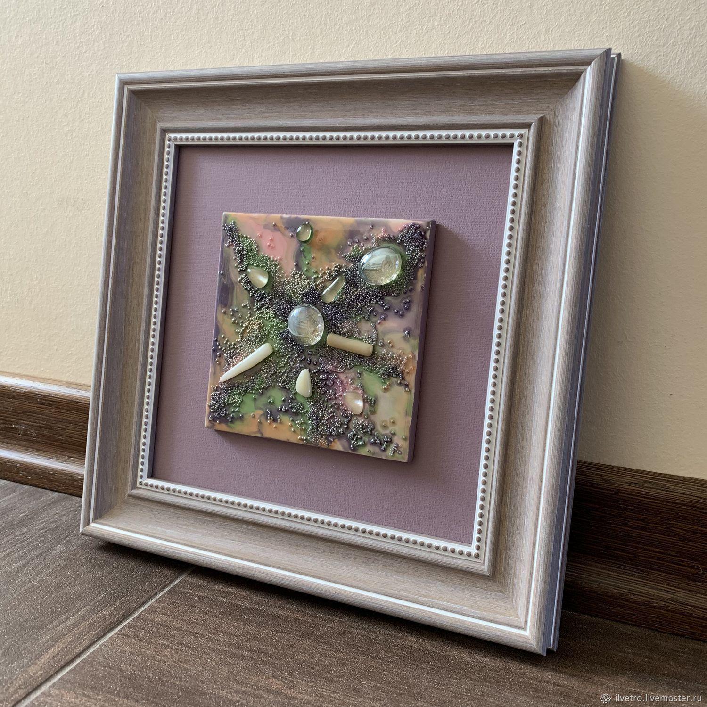 Абстракция ручной работы. Ярмарка Мастеров - ручная работа. Купить Картина на керамической плитке Сиреневая дымка. Handmade. Подарок мужчине