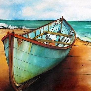 Картины и панно ручной работы. Ярмарка Мастеров - ручная работа Рыбацкая лодка - картина маслом ручной работы на холсте. Handmade.
