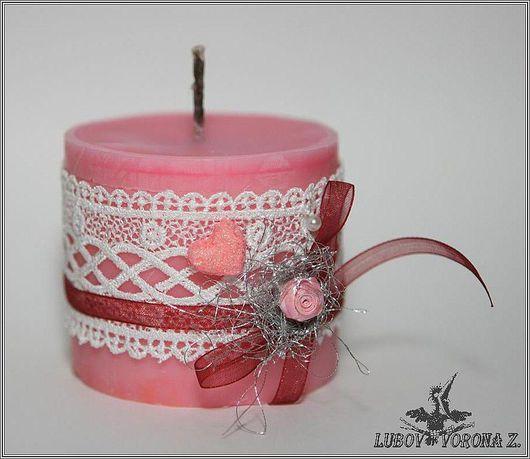 """Свечи ручной работы. Ярмарка Мастеров - ручная работа. Купить Свеча """"Розовое кружево"""". Handmade. Розовый, подарок, кружево, красители"""