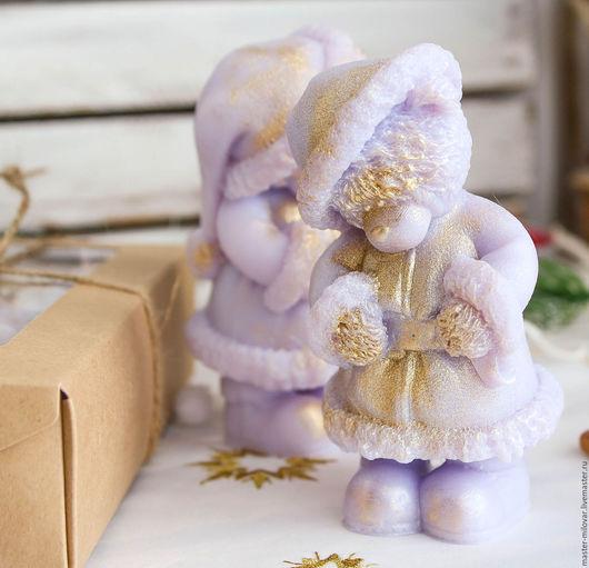 Новый год 2017 ручной работы. Ярмарка Мастеров - ручная работа. Купить ХИТ! мыло оливковое новогоднее ТЕДДИ САНТА (сиреневый). Handmade.