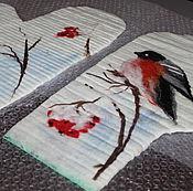Материалы для творчества ручной работы. Ярмарка Мастеров - ручная работа МК по валянию варежек с рисунком Снегири. Handmade.