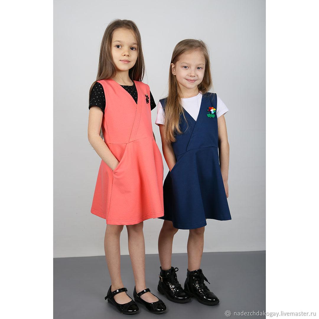 Одежда для девочек, ручной работы. Ярмарка Мастеров - ручная работа. Купить Сарафан коралловый трикотажный. Handmade. Для девочек