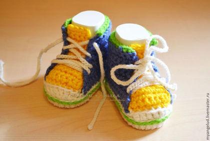 Для новорожденных, ручной работы. Ярмарка Мастеров - ручная работа Пинетки-кеды. Handmade.