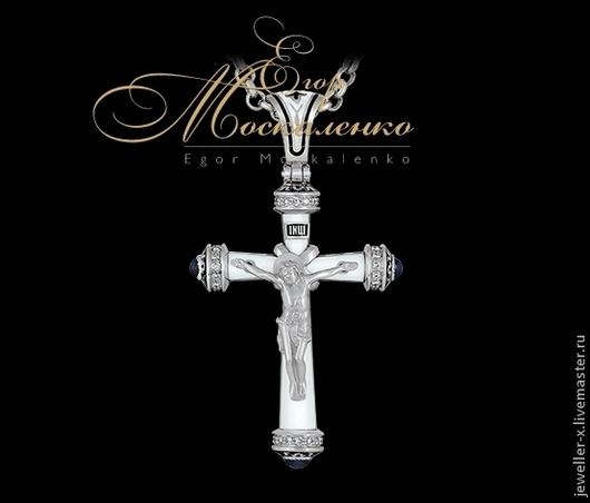 Православный крест с белой эмалью (малый) Jeweller-X.ru