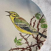Посуда ручной работы. Ярмарка Мастеров - ручная работа Тарелка Птичка в ежевичнике. Handmade.