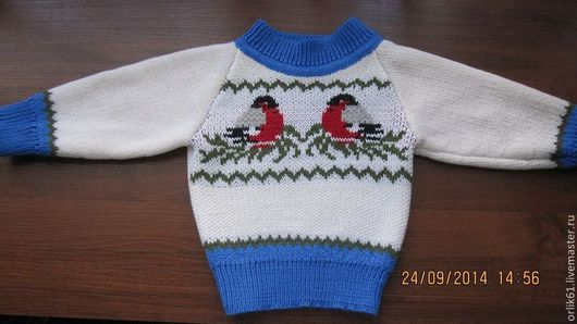 Кофты и свитера ручной работы. Ярмарка Мастеров - ручная работа. Купить Снегири. Handmade. Джемпер, джемпер для мальчика, вязание на машине