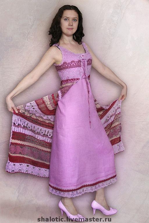 Льняное платье, платье с ажурной накидкой, платье с кружевом, длинное платье, автор Юлия Льняная сказка