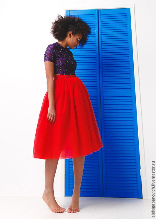 Юбки ручной работы. Ярмарка Мастеров - ручная работа. Купить Красная юбка. Handmade. Разноцветный, юбка, юбка из фатина