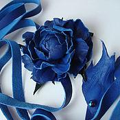 """Аксессуары ручной работы. Ярмарка Мастеров - ручная работа Поясок с розой из кожи """"Синий..Синий..."""". Handmade."""