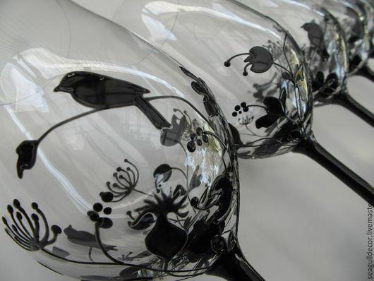 Бокалы, стаканы ручной работы. Ярмарка Мастеров - ручная работа. Купить Набор из двух бокалов для вина. Роспись по стеклу. Handmade.