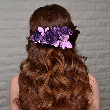 Свадебный салон ручной работы. Ярмарка Мастеров - ручная работа Цветочное украшение для волос из фоамирана, темно-фиолетовые цветы. Handmade.