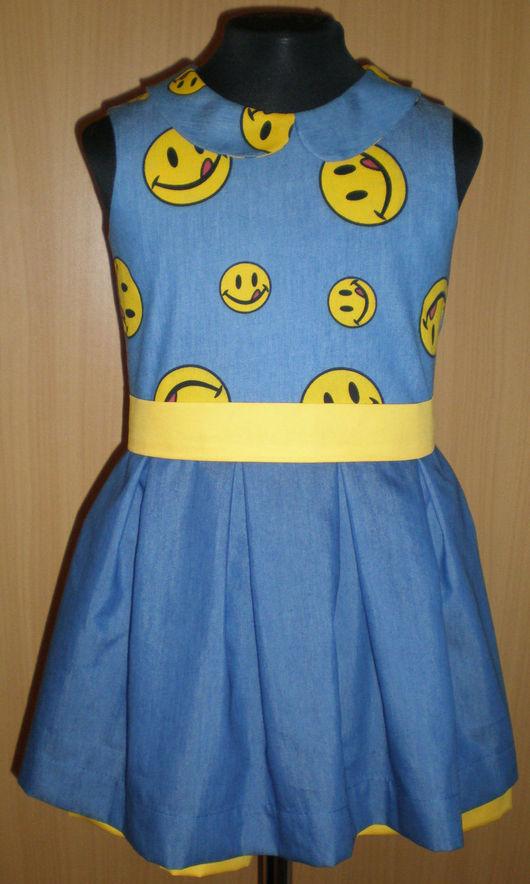 """Одежда для девочек, ручной работы. Ярмарка Мастеров - ручная работа. Купить Платье """"Смайлик"""". Handmade. Синий, смайлик, деним"""