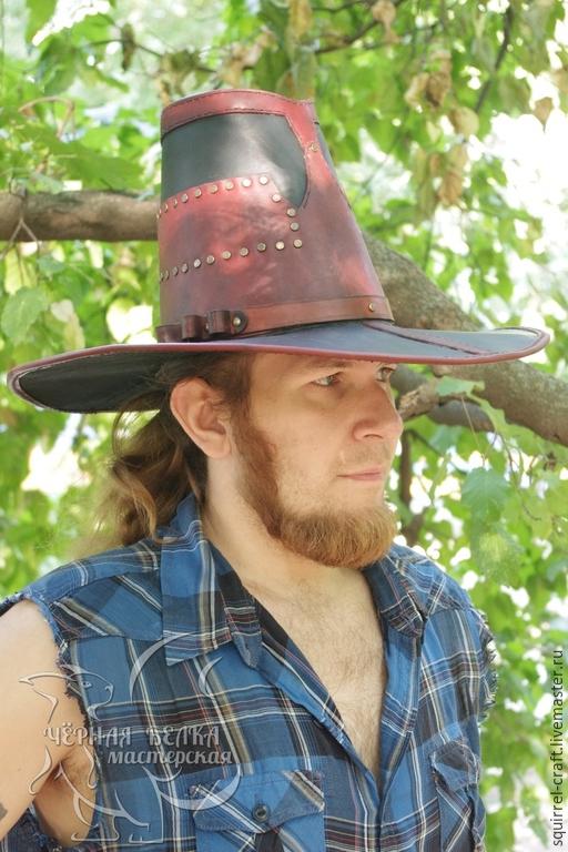 Ролевые игры ручной работы. Ярмарка Мастеров - ручная работа. Купить Шляпа вичхантера кожаная двуцветная. Handmade. Ручные швы