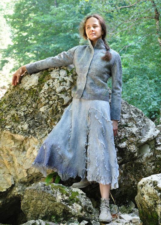 """Юбки ручной работы. Ярмарка Мастеров - ручная работа. Купить Шёлковая, валяная юбка """"Вечер"""". Handmade. Серый, бохошик"""