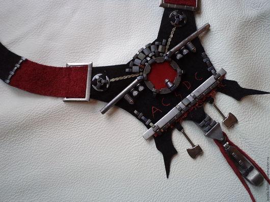 Колье, бусы ручной работы. Ярмарка Мастеров - ручная работа. Купить AC/DC украшение в стиле дизель-панк. Handmade. Черный