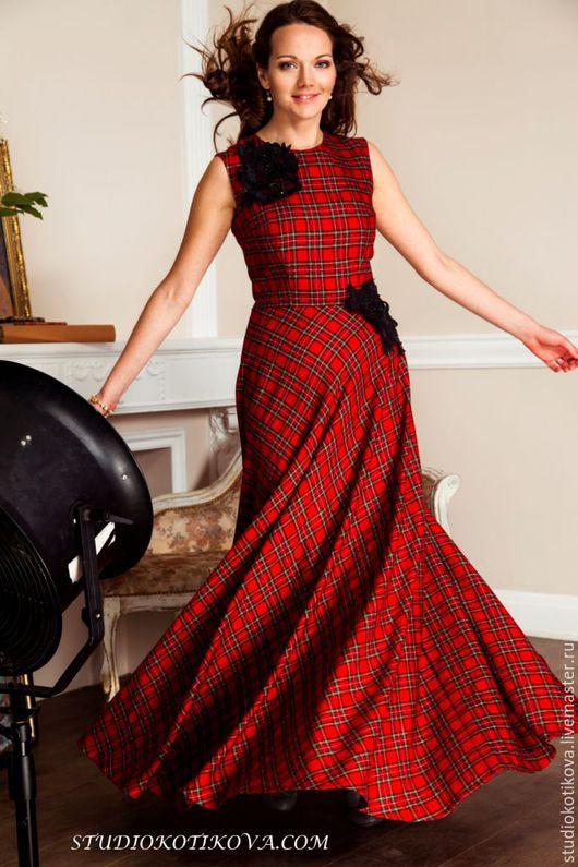 """Платья ручной работы. Ярмарка Мастеров - ручная работа. Купить Платье """"Шотландка"""". Handmade. Бордовый, шерсть, платье, макси платье"""