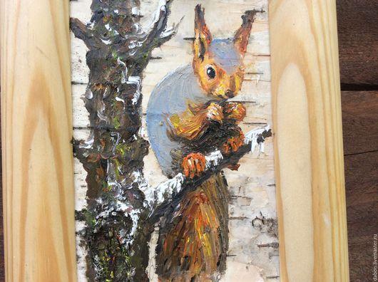 Животные ручной работы. Ярмарка Мастеров - ручная работа. Купить Картина на бересте Белочка. Handmade. Рыжий, картина на дереве, береста