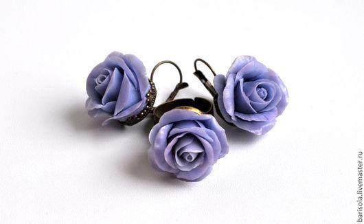Серьги ручной работы. Ярмарка Мастеров - ручная работа. Купить Украшение с розами. Handmade. Сиреневый, серьги ручной работы, основа