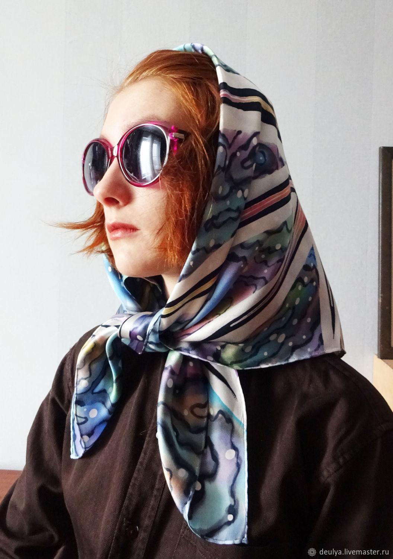 Batik, silk scarf ' Endless sea», Shawls1, Moscow,  Фото №1