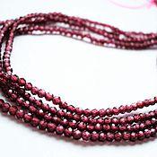 Материалы для творчества handmade. Livemaster - original item Garnet small faceted beads 2mm, 19cm strand. Handmade.