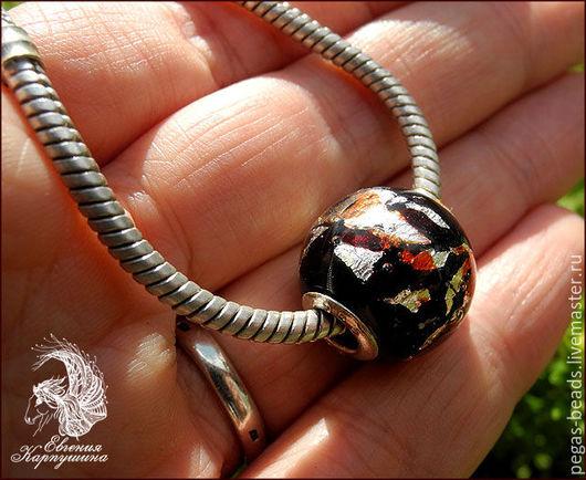"""Для украшений ручной работы. Ярмарка Мастеров - ручная работа. Купить Бусина """"Лава"""" в стиле Pandora. Handmade. Черный"""