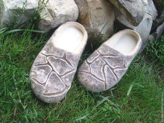 """Обувь ручной работы. Ярмарка Мастеров - ручная работа. Купить Тапочки """" Стоунки """". Handmade. Белый, Овечья шерсть"""