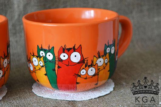 Кружки и чашки ручной работы. Ярмарка Мастеров - ручная работа. Купить Кружки с котами, коты, чашка с котами. Handmade. Рыжий