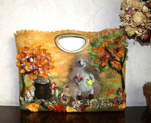 Женские сумки ручной работы. Ярмарка Мастеров - ручная работа. Купить ежик грибник. Handmade. Валяная сумка, Осенний лес