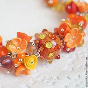 """Украшения ручной работы. Ярмарка Мастеров - ручная работа Браслет """"Оранжевое настроение"""" с цветами из полимерной глины. Handmade."""
