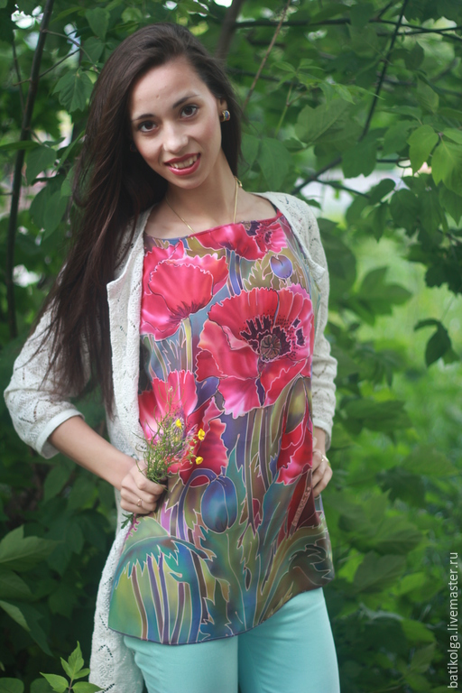 Блузки ручной работы. Ярмарка Мастеров - ручная работа. Купить Батик шелковая блуза  Опиум. Handmade. Разноцветный, зеленый