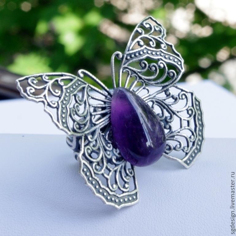 Ring 'Butterfly' Purple amethyst, Rings, Yalta,  Фото №1