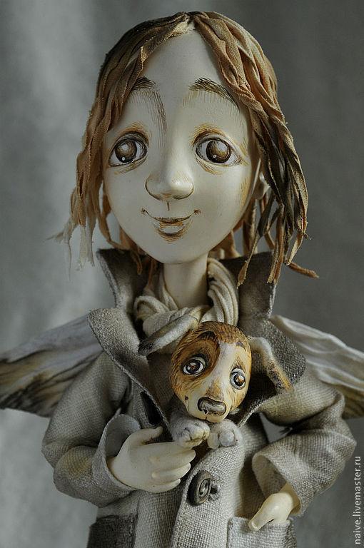 """Коллекционные куклы ручной работы. Ярмарка Мастеров - ручная работа. Купить """"Ангел с бродячей собакой"""". Handmade. Авторская кукла, хлопок"""