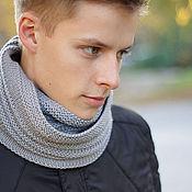 Аксессуары ручной работы. Ярмарка Мастеров - ручная работа Мужской шарф-снуд серый. Handmade.