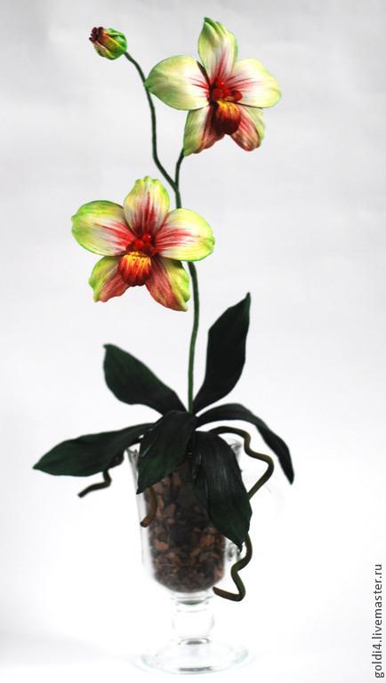 Интерьерные композиции ручной работы. Ярмарка Мастеров - ручная работа. Купить Орхидея интерьерная. Handmade. Салатовый, кожа натуральная
