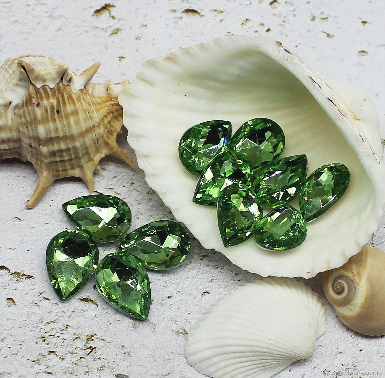 Rhinestones drops 14/10 mm Peridot, Rhinestones, Solikamsk,  Фото №1
