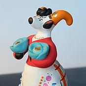 Русский стиль ручной работы. Ярмарка Мастеров - ручная работа Дымковская игрушка Коза с капустой. Handmade.