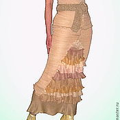 Одежда ручной работы. Ярмарка Мастеров - ручная работа Вязаная длинная юбка-годэ бежевая с оборками. Handmade.
